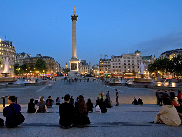 This was taken on a nice early summer night in Trafalgar Square.  Everything came together, the people were just enjoying being outdoors on a lovely eveing!