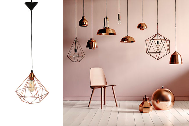 Lámpara de techo de cobre